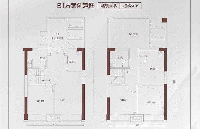 碧桂园星钻 B1户型 3室1厅2卫 建筑面积约68㎡