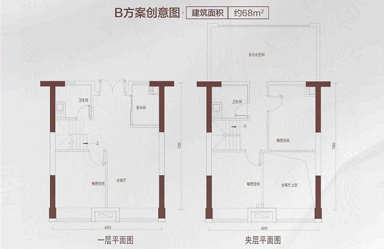 碧桂园星钻 B户型 3室1厅2卫 建筑面积约68㎡
