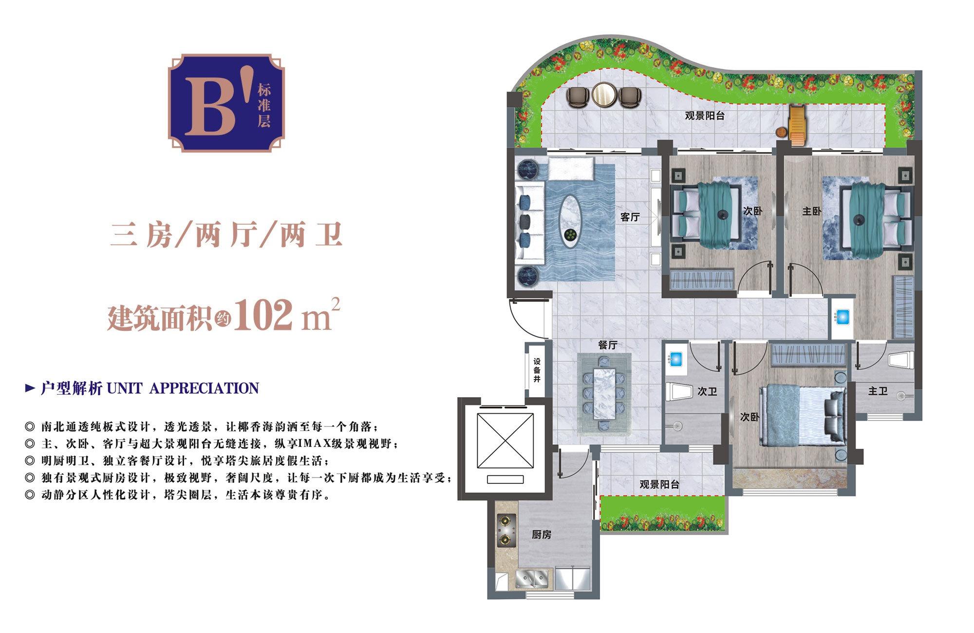 清凤龙栖海岸 二期B'户型 3房2厅2卫 建筑面积约102㎡