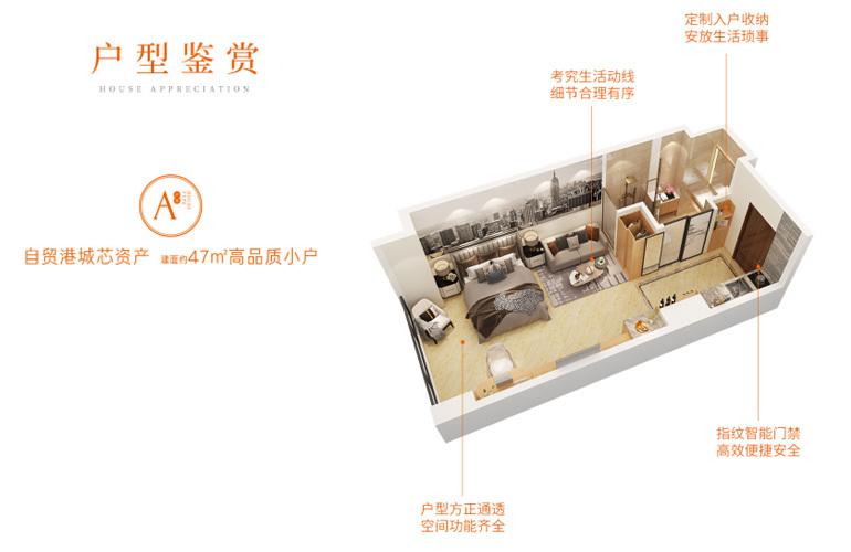 中国城星悦居 A8户型 一房一厅一卫 建筑面积47㎡