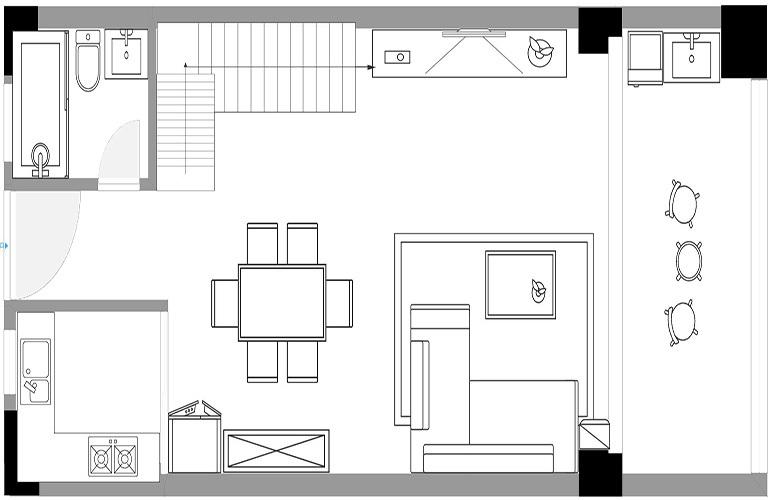 悦龙湾 B栋无敌海景LOFT公寓一层户型图  建筑面积75㎡