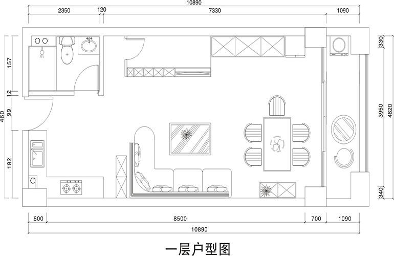 悦龙湾 C栋亲海LOFT住宅一层户型图 建筑面积65㎡