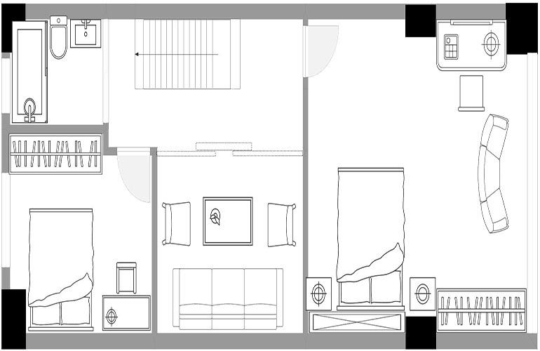 悦龙湾 B栋无敌海景LOFT公寓二层户型图 建筑面积75㎡