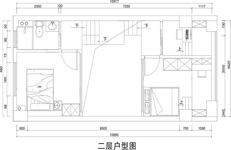 悦龙湾 C栋亲海LOFT住宅二层户型图  建筑面积65㎡