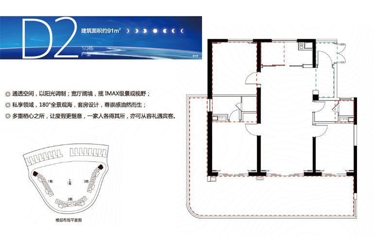融创日月湾 D2户型 3室2厅2卫 建筑面积91㎡