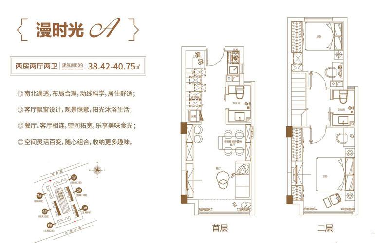 漫时光A户型 两房两厅两卫  建筑面积38.48-40.75㎡