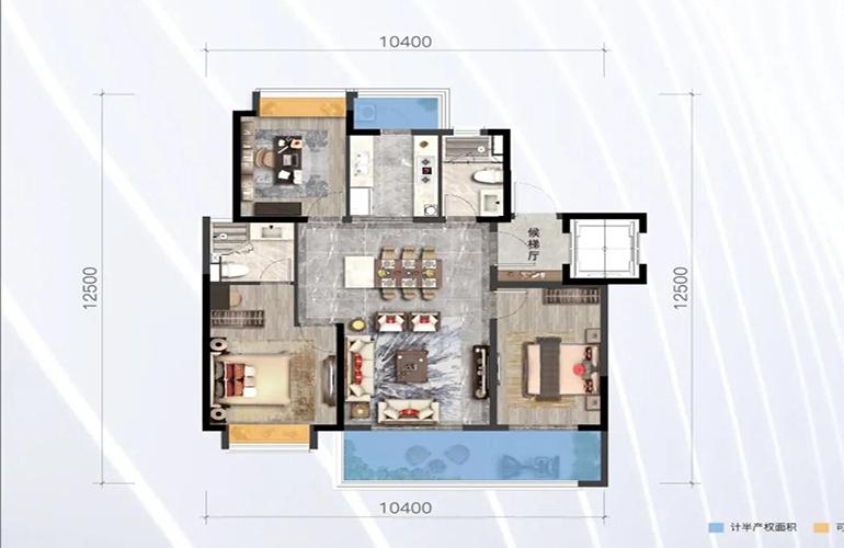 绿地滇池国际健康城 山海里 3室2厅2位 建筑面积114㎡