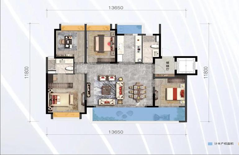 绿地滇池国际健康城 山海里 4室2厅2卫 建筑面积142㎡