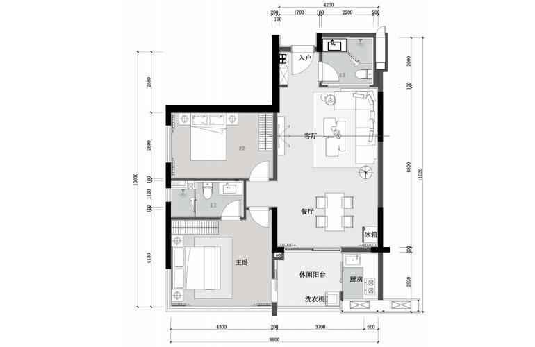 九所泊云 两室两厅两卫 建筑面积107.64㎡
