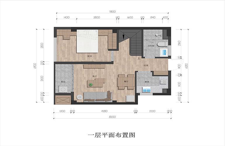 九所泊云 loft产品 三房两厅两卫 建筑面积68㎡