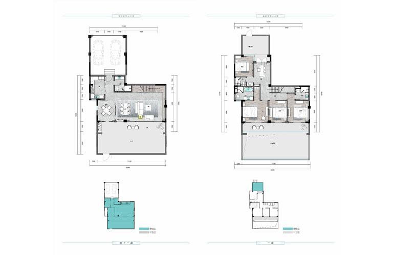 海蓝凤凰海岸 B户型(下叠)地下1层+地上1层 建建筑面积107.92㎡