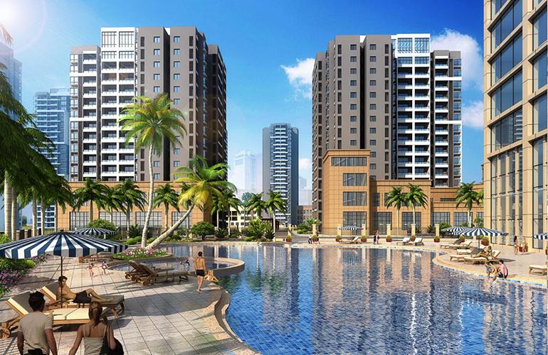 临高双杰蓝海国际在售建筑面积82㎡-107㎡的2居-3居,均价7500元/㎡
