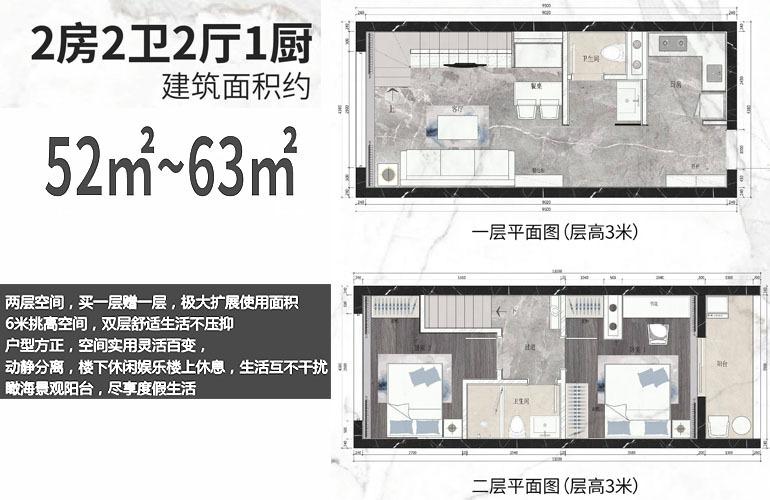 中凯时代广场 LOFT户型 2房2厅1卫 建筑面积52㎡-63㎡