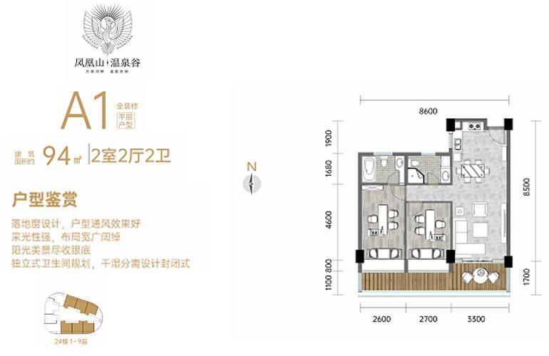 凤凰山温泉谷 A1户型 2室2厅2卫 建筑面积94㎡