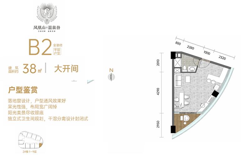 凤凰山温泉谷 B2户型 大开间 建筑面积38㎡