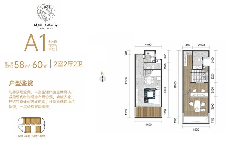 凤凰山温泉谷 A1户型 2室2厅2卫 建筑面积58㎡-60㎡