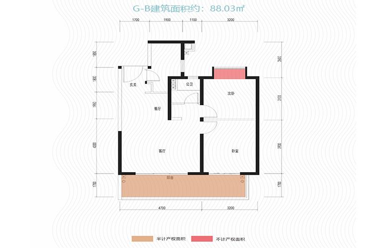 新城蓝光碧桂园古滇水云城 G-B户型 两室两厅一卫