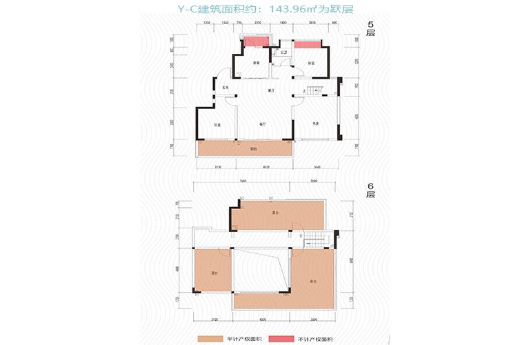 新城蓝光碧桂园古滇水云城 Y-C户型(跃层) 三室两厅一卫