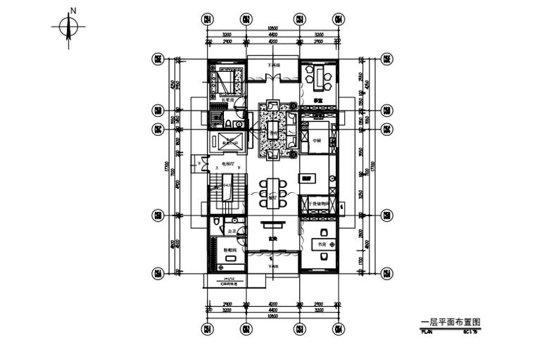 艺境 C户型 一层平面布置图