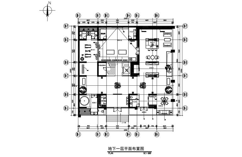 艺境 B户型 地下一层平面布置图