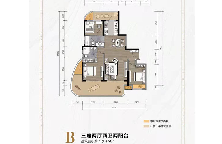 迈陈海悦阁 B户型 3房2厅2卫 建面110-114㎡