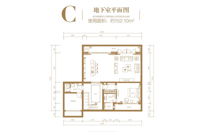 葛洲坝海棠福湾 C户型 3室2厅5卫 建筑面积132.77㎡ 地下室平面图