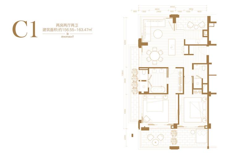 葛洲坝海棠福湾 C1户型 2房2厅2卫 建筑面积约156㎡