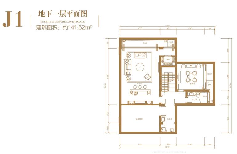 葛洲坝海棠福湾 J1户型 4室3厅4卫 建筑面积223.86㎡ 地下一层平面图