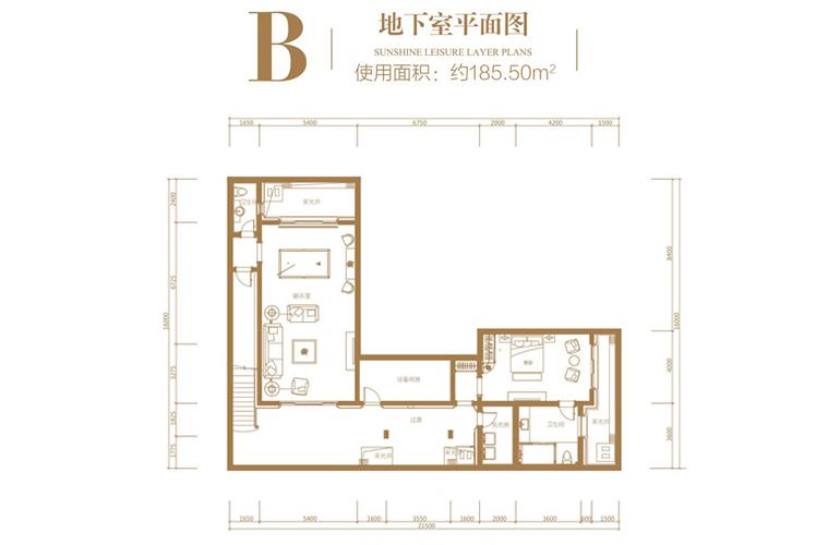 葛洲坝海棠福湾 B户型 3室2厅5卫 建筑面积127.75㎡ 地下室平面图