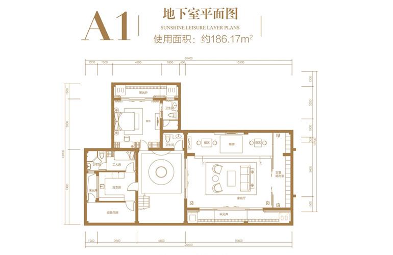 葛洲坝海棠福湾 A1户型 3室2厅6卫 建筑面积135.51㎡ 地下室平面图