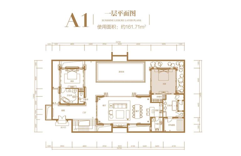 葛洲坝海棠福湾 A1户型 3室2厅6卫 建筑面积135.51㎡ 一51层平面图