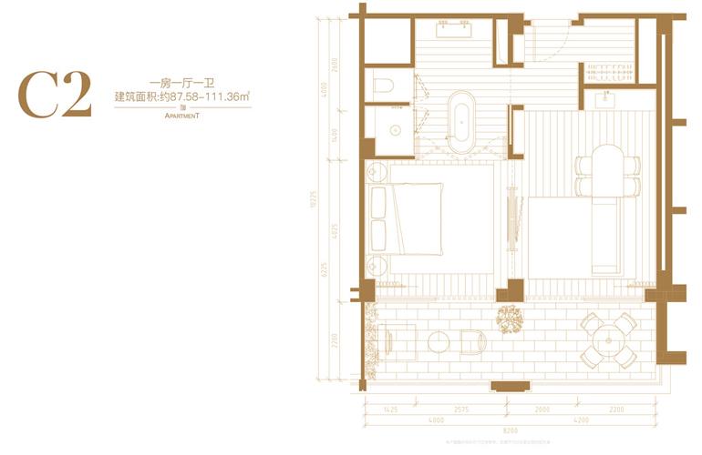葛洲坝海棠福湾 C2户型 1房1厅1卫 建筑面积87.58-111.36㎡