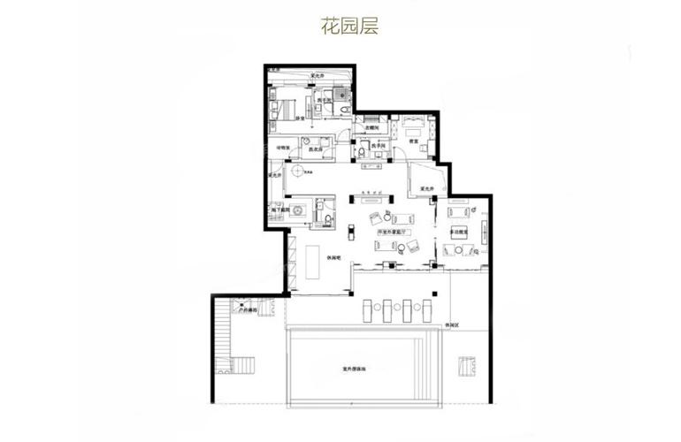 亚龙湾水岸君悦 VB户型 5室3厅7卫 建筑面积367.93㎡ 花园层平面图