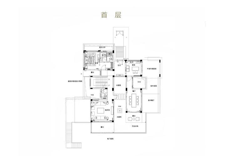 亚龙湾水岸君悦 VB户型 5室3厅7卫 建筑面积367.93㎡ 首层平面图