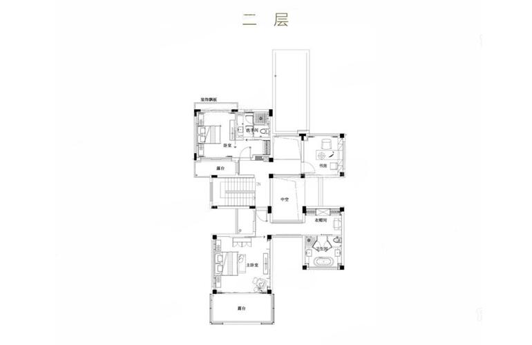 亚龙湾水岸君悦 VB户型 5室3厅7卫 建筑面积367.93㎡ 二层平面图