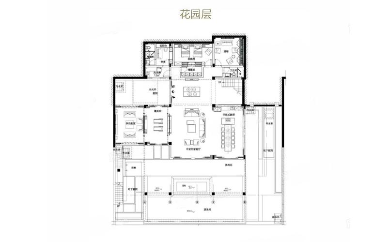 亚龙湾水岸君悦 VC户型 7室2厅6卫 建筑面积549.2㎡ 花园层平面图