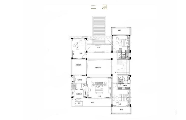 亚龙湾水岸君悦 VC户型 7室2厅6卫 建筑面积549.2㎡ 二层平面图