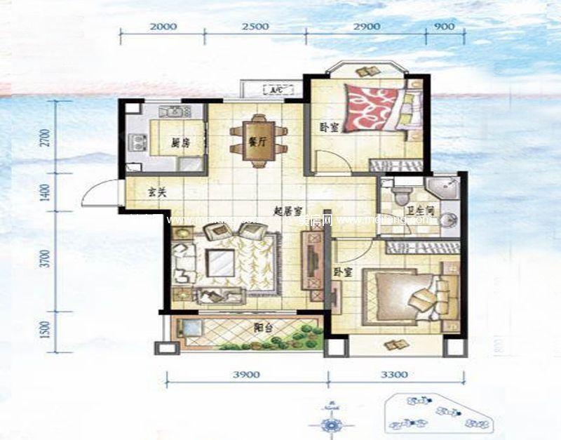 万宁国瑞城 1-4号楼A1户型 2室2厅1卫 86㎡