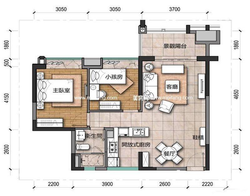 观澜湖 新城上东区B1户型 1室2厅2卫 79.18㎡