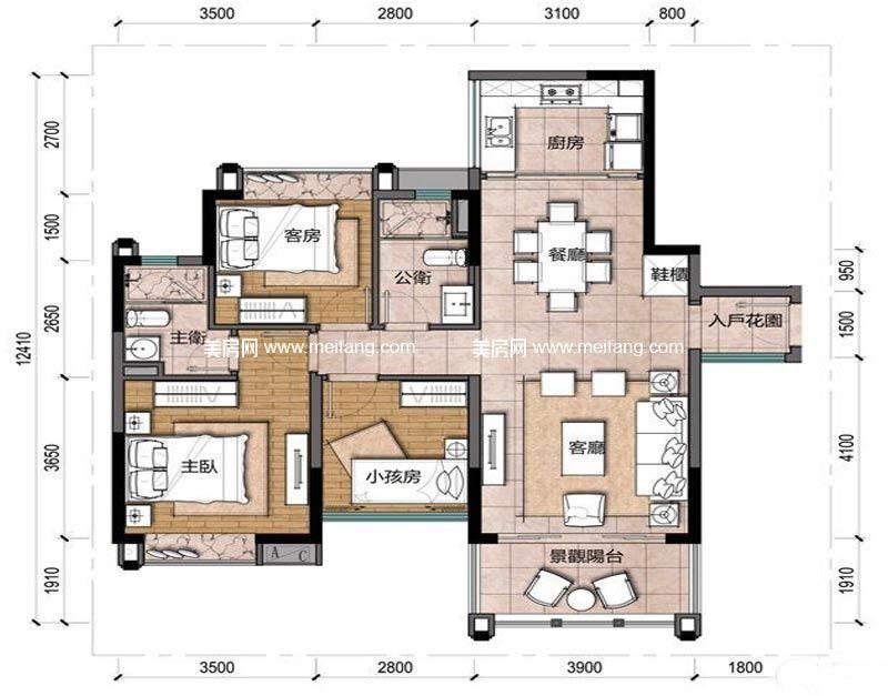 观澜湖 新城上东区B3户型 2室2厅2卫 102.72㎡