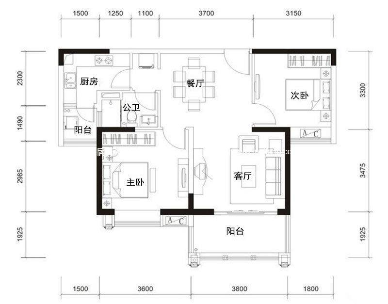观澜湖 新城B2户型 2室2厅1卫 81㎡