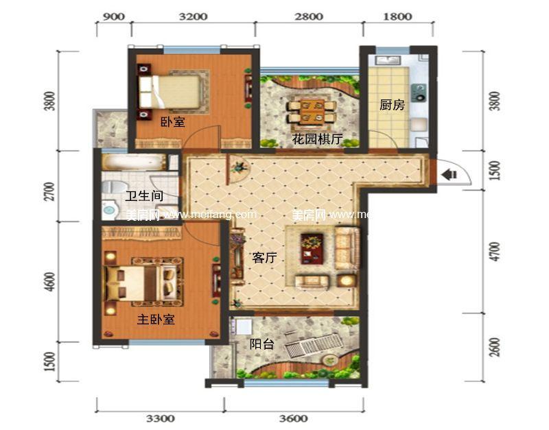 滨海新天地 B1户型 2室2厅1卫1厨 建面95㎡