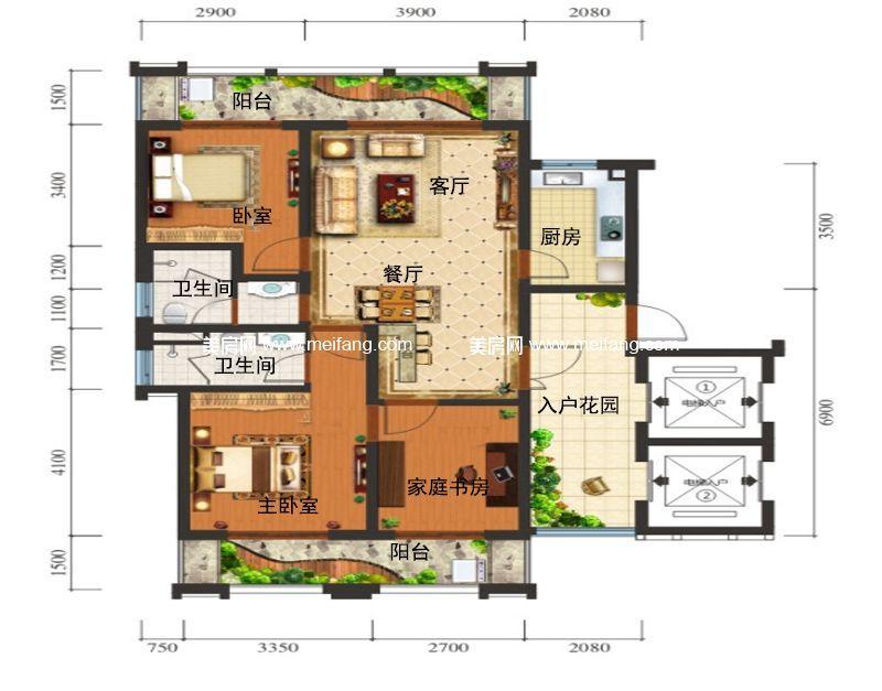 滨海新天地 A户型 3室2厅2卫1厨 建面115㎡