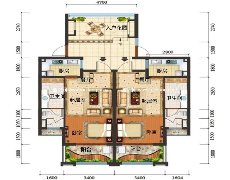 滨海新天地 C户型 1室2厅1卫1厨 建面48㎡
