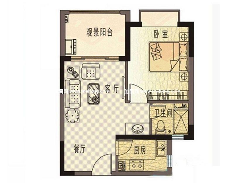 珍珠湾风情小镇 B户型 1房1厅1卫1厨 建面55㎡