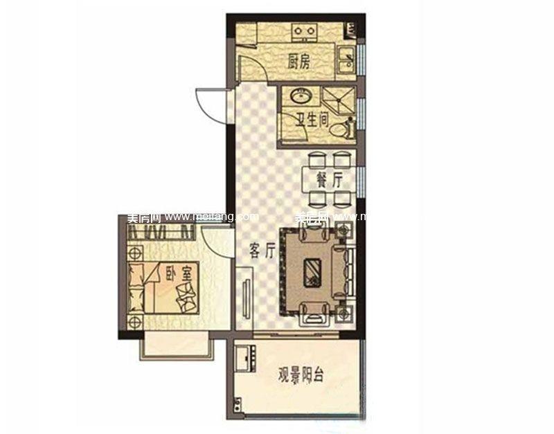 珍珠湾风情小镇 C户型 1房2厅1卫1厨 建面59㎡