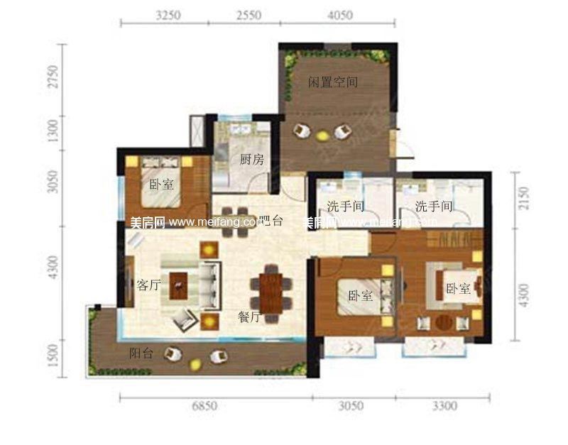 合景月亮湾 4户型 3室2厅2卫1厨 建面131㎡