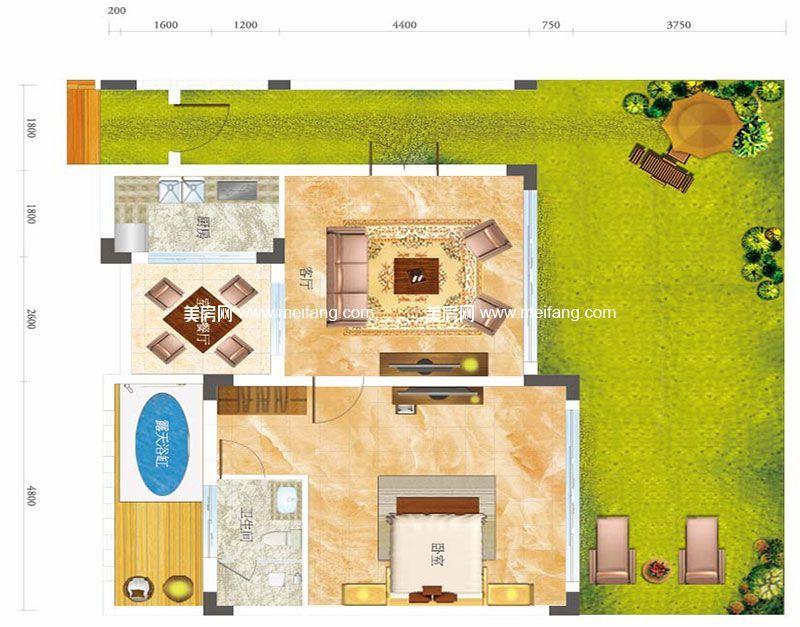 合景月亮湾 A型别墅 1室2厅1卫1厨 建面59㎡
