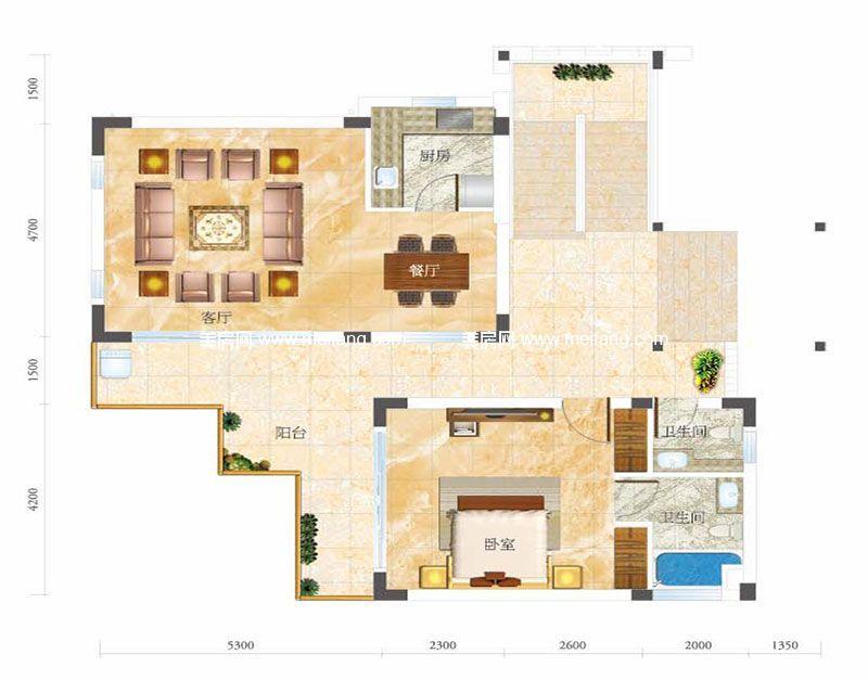 合景月亮湾 C型别墅 1室2厅2卫1厨 建面95㎡