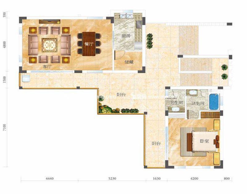 合景月亮湾 D型别墅 1室2厅2卫1厨 建面104㎡